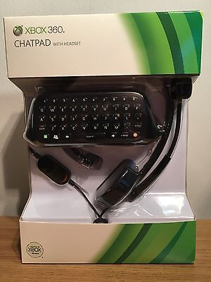 OFFICIAL XBOX 360 GAMING BLACK QWERTY CHATPAD & HEADSET Brand New UK Spec