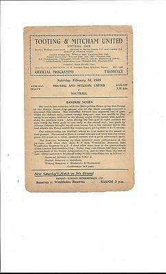 Tooting & Mitcham United v Southall, Athenian League, 1947-48..February 14th