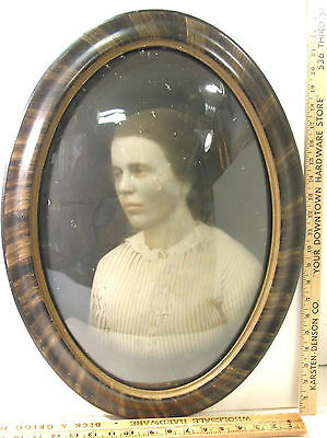 """Antique Oval Convex Bubble Glass Picture Frame Faux Grained 17"""" By 23"""""""