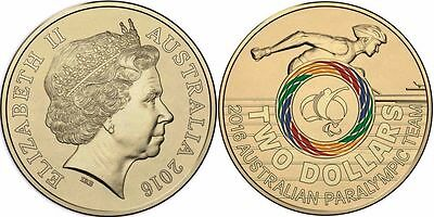 2016 Australia Rio Olympic Team Paralympic $2 Color Coin