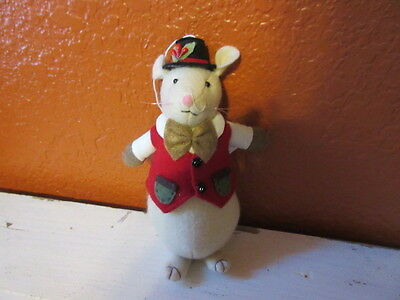 New  Holiday felt Christmas Mouse w/ top hat figure ornament decoration