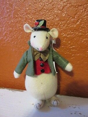 New Holiday felt Christmas Mouse w/ top hat figure ornament decoration #2
