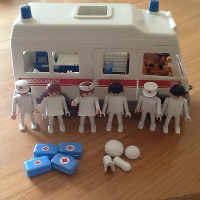 Vintage Playmobil Ambulance, Incomplete But Lots Of Nursing People And Parts