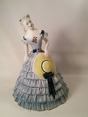 Vtg Goldscheider-Everlast Southern Belle Lady Period Blue dress Hat Figurine