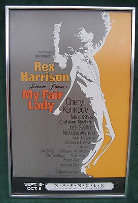 Framed Theater Poster for Broadway Musical My Fair Lady Rex Harrison 1980's
