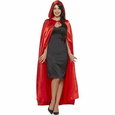 Womens Red Hooded Cape Satin Adult Long Halloween Costume Fancy Dress NEW