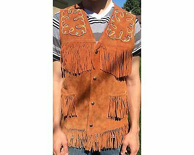 Vintage Men's Fringed Aboriginal Indian Hippie Suede Vest With Embroidery Medium