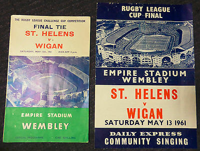 Rugby League Wembley Cup Final (St Helens v Wigan) & Songsheet - 13th May 1961
