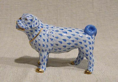 Herend Blue Fishnet Lola the Pug First Edition 15490