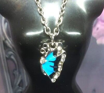 Butterfly Blue & Silver Necklace Fits Tiny Kitty Collier Barbie Doll Jewlery B43