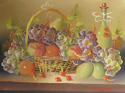 "Fruit Festival Original Hand Painted  8""x10"" Oil Painting Food Canvas Art"