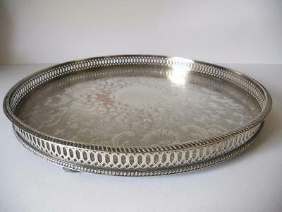 Vintage Bun Footed Chased Gallery Tray Sheffield Silver Plate On Copper  35.5cms