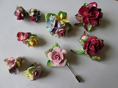 Vintage porcelain china ceramic floral brooches earrings & 1 stick pin