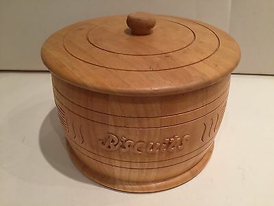 Wooden Biscuit Barrol / Jar / Tin - Made Of Wood With Sealed Lid - Cookies