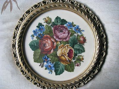 Finished Completed Framed Jean McIntosh Rose Bouquet Petit Point