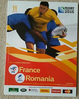Rugby World Cup Programme 2015 France v Romania