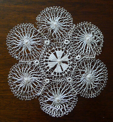 Lot of 13 Antique Hand-Made Silk Lace Doilies circa 1900 Spider Web