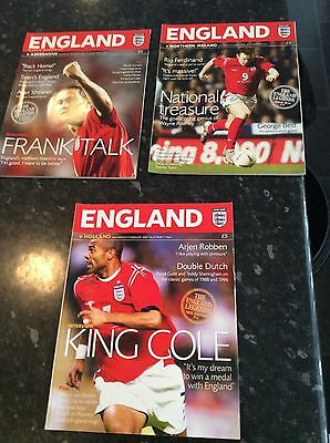 3 X England Home Programmes From 2005 All Different Games In Vgc