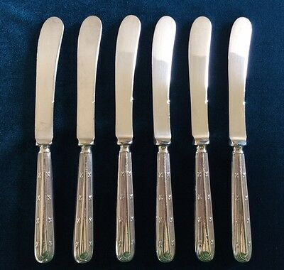 Antique Sterling Silver butter knives, set of 6 - 1918 - Sheffield - Yates Bros