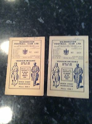 2 X WARRINGTON HOMES V WORKINGTON / WIGAN FROM THE 1940s VOL 1 NO 19 AND 23