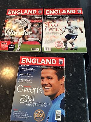 3 X England Home Programmes From 2005 And 2006 All Different Games In Vgc