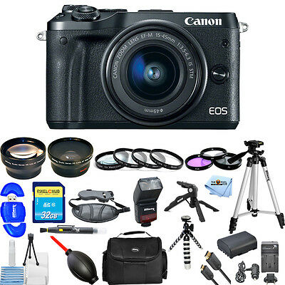 Canon EOS M6 Mirrorless Digital Camera with 15-45mm Lens (Black) MEGA BUNDLE NEW