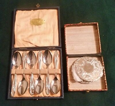 Pretty Boxed Set of 6 Teaspoons and Box of 4 Coasters. Silver metal.