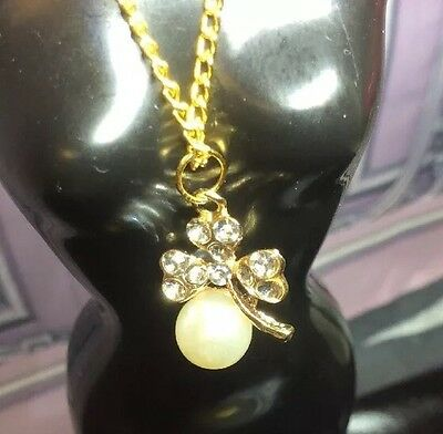 Pearl & Clover Crystals Gold Necklace Fits Tiny Kitty Collier Barbie Doll B15