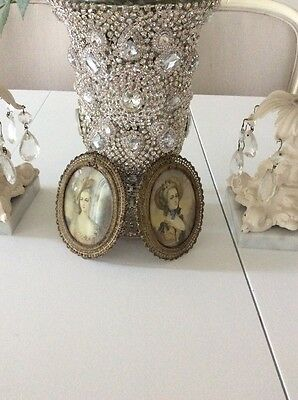 2 vtg French style ORMOLU GILDED PICTURE FRAME Victorian filigree Antique shabby