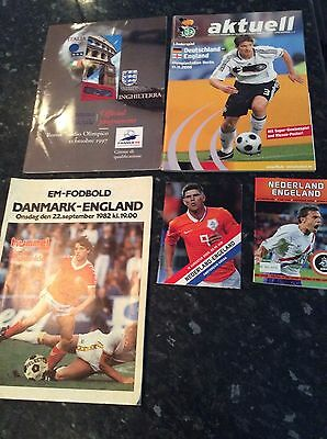 5 X England Aways  Games Played Abroad From 1982 To 2009 V Germany, Italy Etc