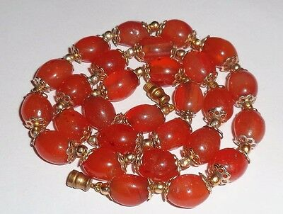 Beautiful Vintage Antique Carnelian Oval Bead Necklace