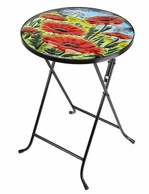 Small Folding Bistro Table Garden Patio Round Glass Top Collapsible Outdoor Deck