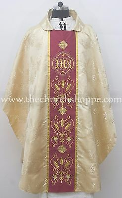 NEW GOLD Metallic Gothic Vestment and Stole set with IHS Embroidery, Casula,NEW