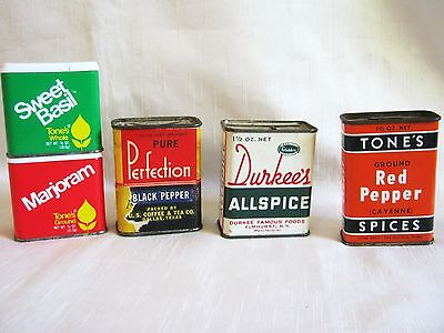 Vintage Spice Tin Box Lot of 5 Tone's Durkee's Pure Perfection Pepper Allspice