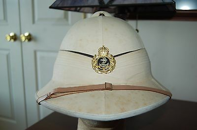 WWII British Royal Navy Tropical Pith Helmet Cap Hat by Gieves