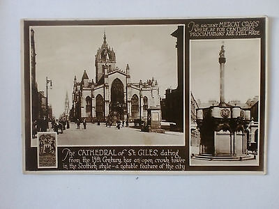 Edinburgh Mercat Cross St Giles Cathedral Real Photograph Historic Picturesque