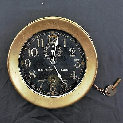 Vintage Brass Seth Thomas Ships Marine Clock Us Shipping Board