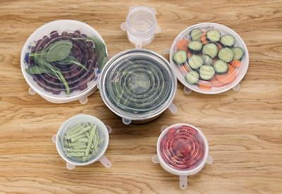 4~5 Pack Stretch Reusable Silicone Bowl Food Storage Wraps Cover Seal Fresh Lids