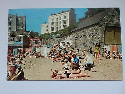 Tenby Castle Sands Beach Pembrokeshire Dyfed Slogan Postmark Posted 1977