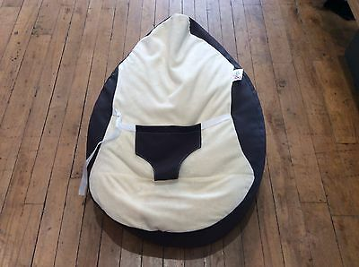 Rucomfy Luxury Cuddle Soft Gaga Baby Bean Bag Charcoal & Cream