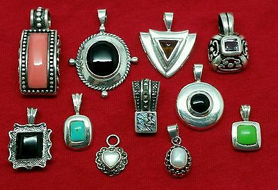 .925 Sterling Silver Wholesale Jewelry Lot Of 11 Mix Of Gemstone Pendants