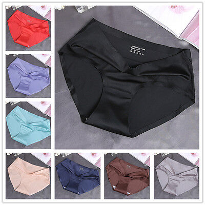 Silk cool Boxers Knickers Pants Seamless Glossy Womens Underwear Panties Shorts