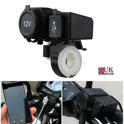 12V 2.1A Motorcycle Usb Power Port Socket Charger Outlet Waterproof For Phone Uk