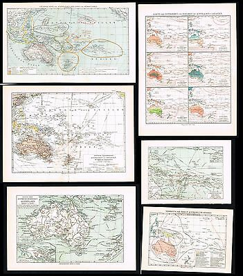 ca 1910 - 6x Antique Maps of Australia,  Pacific Islands & New Zealand - Sievers