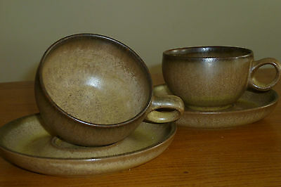 Denby  Original Romany cups and saucers  x 2