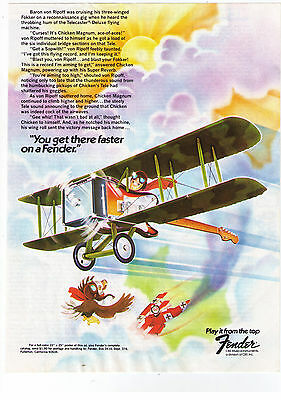 """Vintage 1970's Fender Guitars """"You'll Get There Faster"""" Airplane Print Advert"""