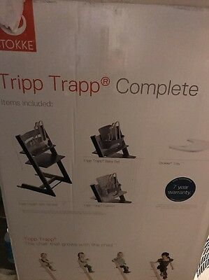 Stokke Baby Adjustable Tripp Trapp Infant Toddler High Chair Complete Walnut