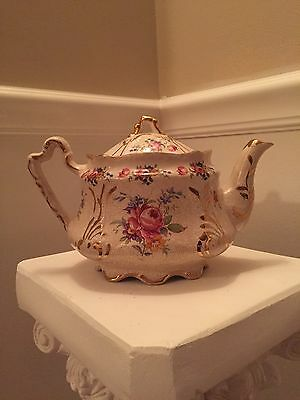 Antique Teapot Floral Gold Trim - Made In England
