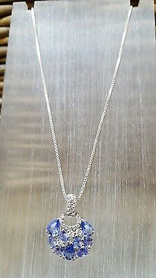 925 Sterling Silver Necklace, Tanzanite & Clear Topaz Cluster Pendant, Beautiful
