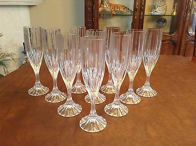 Mikasa Crystal PARK LANE Pattern Set Of 2 Champagne Flutes Glasses